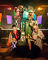 "Edinburgh, UK. 24.08.2016. Characters from Pyratrix Circus' production of ""Alice in Wasteland"" pose for photos before a show. The show is on at Studio 24 (Venue 253) as part of Edinburgh Festival Fringe. Photograph © Jane Hobson."