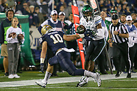 Annapolis, MD - October 26, 2019: Tulane Green Wave wide receiver Darnell Mooney (3) avoids Navy Midshipmen safety Kevin Brennan (10) tackle during the game between Tulane and Navy at  Navy-Marine Corps Memorial Stadium in Annapolis, MD.   (Photo by Elliott Brown/Media Images International)