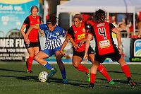 Rochester, NY - Friday June 24, 2016: Boston Breakers midfielder Angela Salem (26), Western New York Flash forward Lynn Williams (9), Western New York Flash defender Elizabeth Eddy (4) during a regular season National Women's Soccer League (NWSL) match between the Western New York Flash and the Boston Breakers at Rochester Rhinos Stadium.