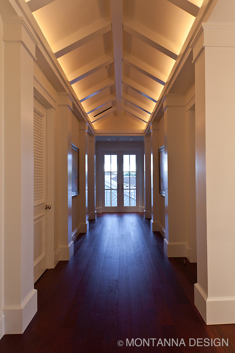 Indirect lighting shows off this unique gallery hall architecture