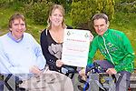 SADDLE UP: International cyclist, Paul Griffin (right), who is one of several cyclists lined up for the Ring of Kerry Cycle on behalf of the Irish Wheelchair Association in Kerry, with l-r: Terry O'Brien (Community Development Officer IWA) and Eileen Keane (Administrator).
