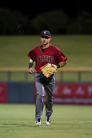 AZL Diamondbacks right fielder Chaz Meadows (4) jogs off the field between innings of the game against the AZL Cubs on August 11, 2017 at Sloan Park in Mesa, Arizona. AZL Cubs defeated the AZL Diamondbacks 7-3. (Zachary Lucy/Four Seam Images)