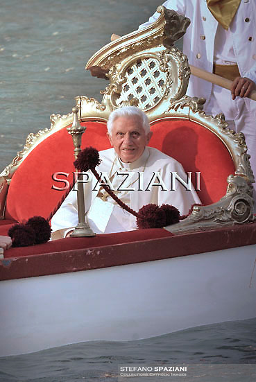 "Pope Benedict XVI rides on the ""Batolina"" an historic gondola from St Mark's square to the basalica della Salute in Venice during the pontif pastoral visit to  Venice on May 8, 2011."
