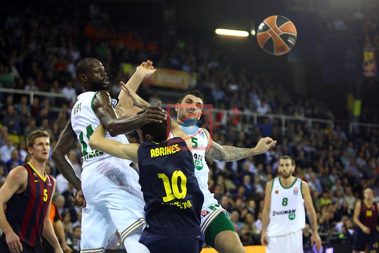 Euroleague Basketball-Regular Season Round 5.<br /> FC Barcelona vs Panathinaikos Athens: 78-69.<br /> James Gist, Alex Abrines &amp; Esteban Batista.