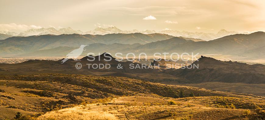 Evening light on hills near Omakau, Central Otago South Island, New Zealand - stock photo, canvas, fine art print
