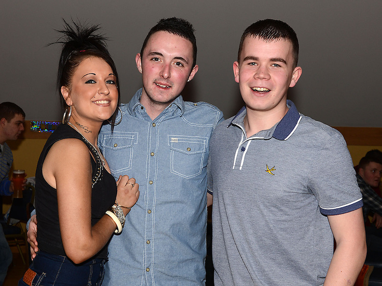 Elsa Whelan, Emmet Gibney and Dean Maguire pictured at Darragh Maguire's 21st birthday in the Thatch. Photo:Colin Bell/pressphotos.ie
