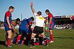 Referee John Wright awards the try to Simon Lemalu.  Counties Manukau Premier Club Rugby game between Waiuku & Ardmore Marist played at Waiuku on Saturday 20th June, 2009. Waiuku won the game 28 - 25.
