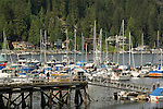 Jetty and boat marina overlooked by homes in Deep Cove,Vancouver, British Columbia, Canada.
