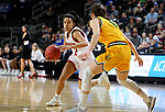 SIOUX FALLS, SD - MARCH 8: Briana Johnson #2 of the Denver Pioneers drives to the basket against an North Dakota State Bison defender at the 2020 Summit League Basketball Championship in Sioux Falls, SD. (Photo by Dave Eggen/Inertia)