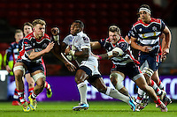 Semesa Rokoduguni of Bath Rugby takes on the Bristol Rugby defence. European Rugby Challenge Cup match, between Bristol Rugby and Bath Rugby on January 13, 2017 at Ashton Gate Stadium in Bristol, England. Photo by: Rogan Thomson / JMP for Onside Images