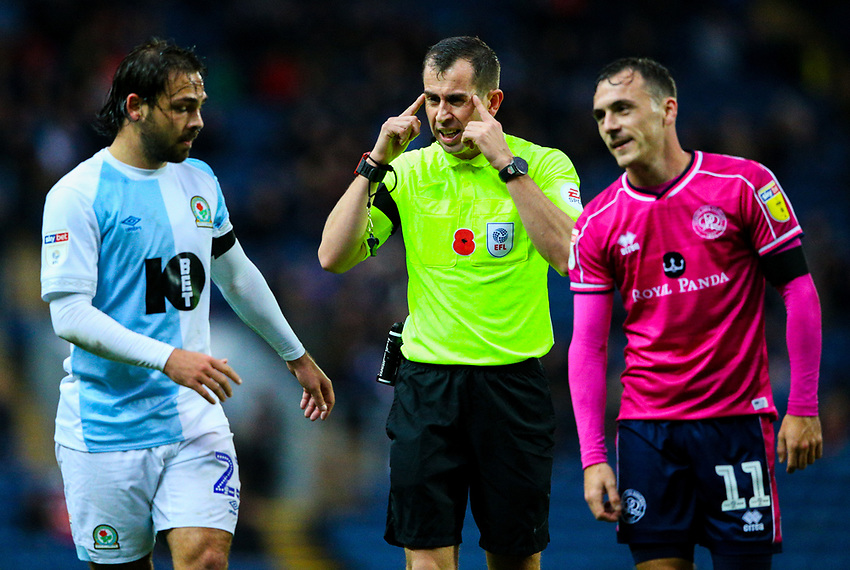 Referee Peter Bankes has words with Blackburn Rovers' Bradley Dack and Queens Park Rangers' Josh Scowen<br /> <br /> Photographer Alex Dodd/CameraSport<br /> <br /> The EFL Sky Bet Championship - Blackburn Rovers v Queens Park Rangers - Saturday 3rd November 2018 - Ewood Park - Blackburn<br /> <br /> World Copyright © 2018 CameraSport. All rights reserved. 43 Linden Ave. Countesthorpe. Leicester. England. LE8 5PG - Tel: +44 (0) 116 277 4147 - admin@camerasport.com - www.camerasport.com