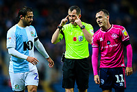 Referee Peter Bankes has words with Blackburn Rovers' Bradley Dack and Queens Park Rangers' Josh Scowen<br /> <br /> Photographer Alex Dodd/CameraSport<br /> <br /> The EFL Sky Bet Championship - Blackburn Rovers v Queens Park Rangers - Saturday 3rd November 2018 - Ewood Park - Blackburn<br /> <br /> World Copyright &copy; 2018 CameraSport. All rights reserved. 43 Linden Ave. Countesthorpe. Leicester. England. LE8 5PG - Tel: +44 (0) 116 277 4147 - admin@camerasport.com - www.camerasport.com