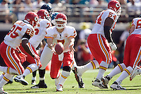 November 08, 2009:    Kansas City Chiefs quarterback Matt Cassel (7) hands off to Kansas City Chiefs running back Jamaal Charles (25) during first half action between the AFC West  Kansas City Chiefs and AFC South Jacksonville Jaguars at Jacksonville Municipal Stadium in Jacksonville, Florida............