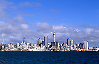 City and harbour with Auckland skyline and radio Tower, Torpedo Bay, New Zealand, South Pacific