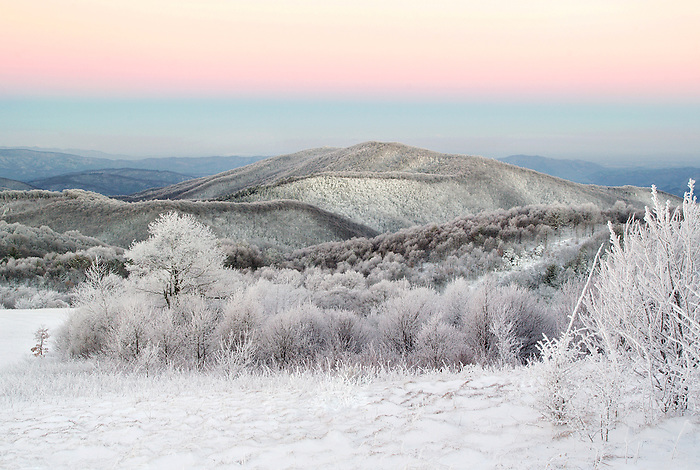 """""""WINTER GLOW"""" -- A winter sunrise view from Max Patch mountain along the Appalachian Trail near Hot Springs, North Carolina."""