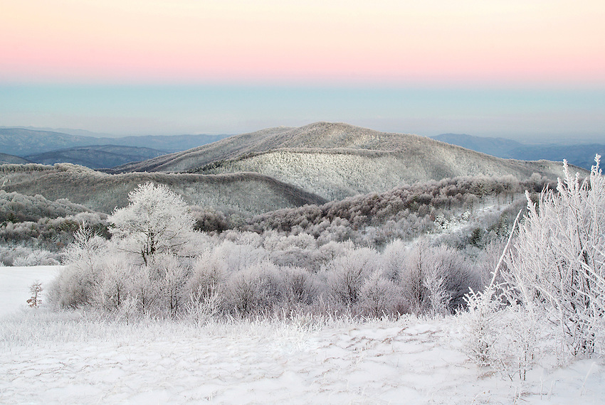"""WINTER GLOW"" -- A winter sunrise view from Max Patch mountain along the Appalachian Trail near Hot Springs, North Carolina."