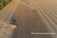63801-13508 Combines harvesting soybeans in fall-aerial  Marion Co. IL