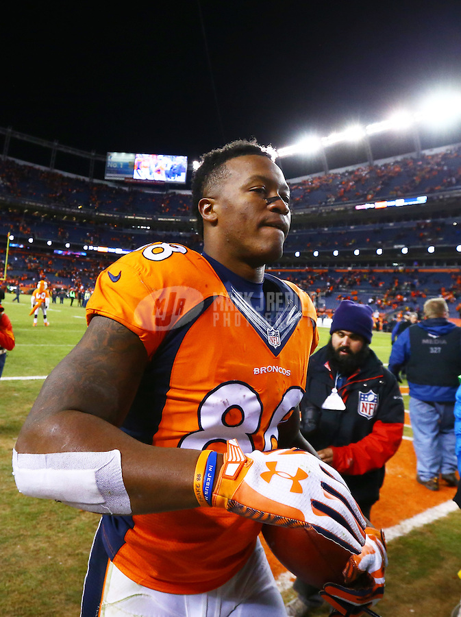Jan 17, 2016; Denver, CO, USA; Denver Broncos wide receiver Demaryius Thomas (88) against the Pittsburgh Steelers during the AFC Divisional round playoff game at Sports Authority Field at Mile High. Mandatory Credit: Mark J. Rebilas-USA TODAY Sports
