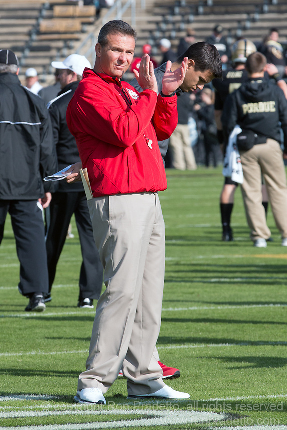 Ohio State head coach Urban Meyer. The Ohio State Buckeyes defeated the Purdue Boilermakers 56-0 at Ross-Ade Stadium, West Lafayette, Indiana on November2, 2013.