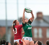 9nd February 2020; Energia Park, Dublin, Leinster, Ireland; International Womens Rugby, Six Nations, Ireland versus Wales; Anna Caplice (Ireland) gathers the lineout ball under pressure from Georgia Evans (Wales)