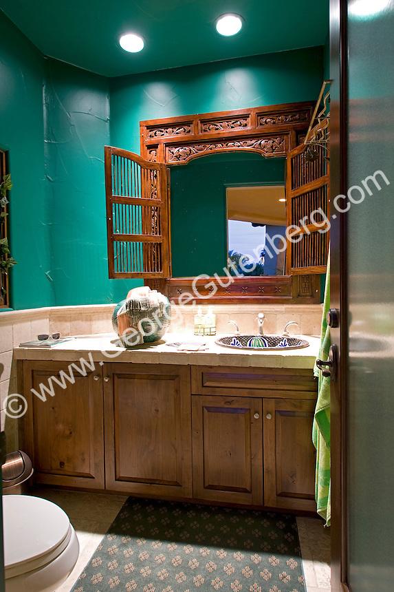 Asian themed powder room with emerald green walls Stock photo of master bath, en suite, bathroom