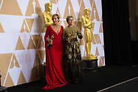 Allison Janney and Frances McDormand pose backstage  during the live ABC Telecast of The 90th Oscars&reg; at the Dolby&reg; Theatre in Hollywood, CA on Sunday, March 4, 2018.<br /> *Editorial Use Only*<br /> CAP/PLF/AMPAS<br /> Supplied by Capital Pictures
