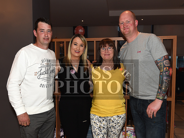 Deborah Mullan celebrating her 40th birthday in Brú with her brothers Christopher and Aaron and aunt Catriona Bagnall. Photo:Colin Bell/pressphotos.ie