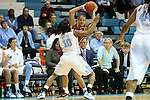 31 January 2013: Florida State's Alexa Deluzio (behind) is guarded by North Carolina's Danielle Butts (10). The University of North Carolina Tar Heels played the Florida State University Seminoles at Carmichael Arena in Chapel Hill, North Carolina in an NCAA Division I Women's Basketball game. UNC won the game 72-62.