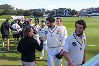 Cricket Wellington chief executive Cam Mitchell congratulates Wellington's Michael Snedden at the end of day four of the Plunket Shield cricket match between the Wellington Firebirds and Canterbury at Basin Reserve in Wellington, New Zealand on Friday, 1 November 2019. Photo: Dave Lintott / lintottphoto.co.nz