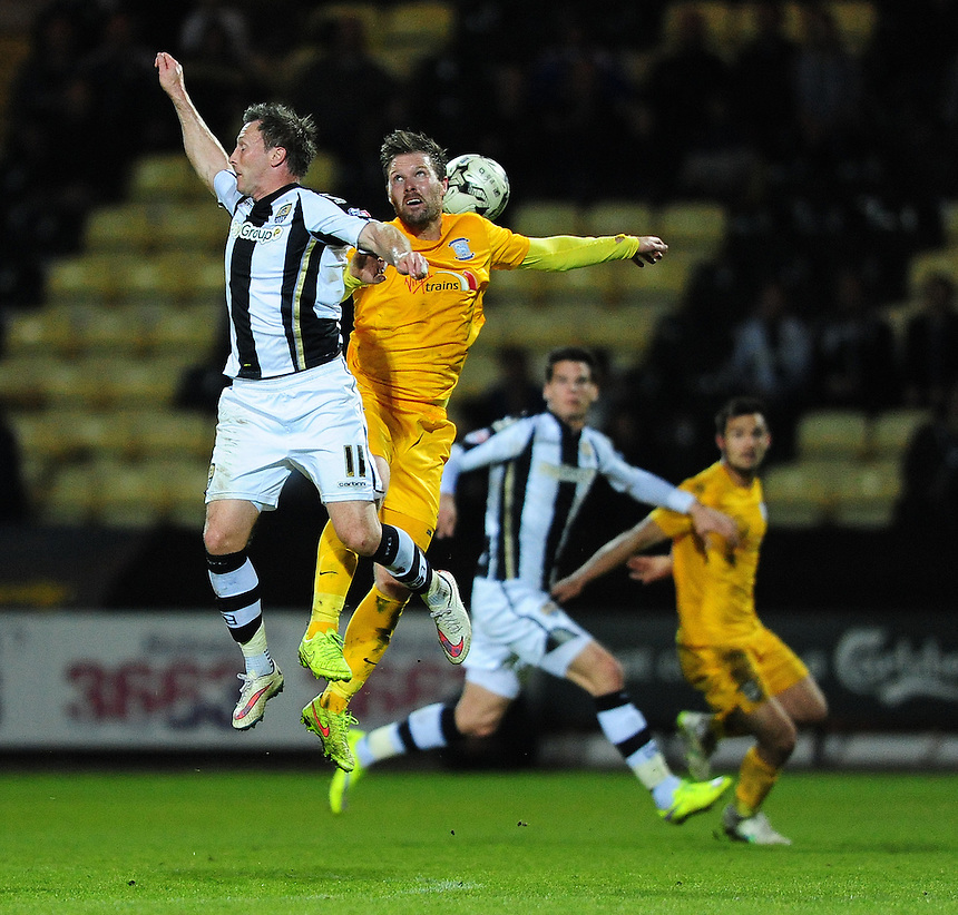 Preston North End's Scott Laird vies for possession with Notts County's Garry Thompson<br /> <br /> Photographer Chris Vaughan/CameraSport<br /> <br /> Football - The Football League Sky Bet League One - Notts County v Preston North End - Tuesday 21st April 2015 - Meadow Lane - Nottingham<br /> <br /> &copy; CameraSport - 43 Linden Ave. Countesthorpe. Leicester. England. LE8 5PG - Tel: +44 (0) 116 277 4147 - admin@camerasport.com - www.camerasport.com