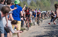 Tom Boonen (BEL/Quick-Step Floors) & John Degenkolb (DEU/Trek-Segafredo) closing in on Daniel Oss (ITA/BMC) at the infamous Carrefour de l'Arbre sector<br /> <br /> 115th Paris-Roubaix 2017 (1.UWT)<br /> One Day Race: Compiègne › Roubaix (257km)