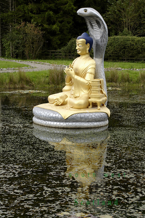 Samye Ling Monastry and Tibetan Centre Eskdalemuir near Langolm Dumfries and Galloway Scotland sculpture of Buddha in the Stupa Garden dedicated to world peace and harmony