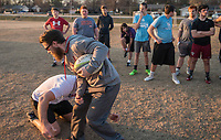 NWA Democrat-Gazette/ANTHONY REYES @NWATONYR<br /> Lee Raney (kneeling) and CJ Williams demonstrate proper rugby tackling Wednesday March 8, 2017 during practice at the Tyson Sports Complex in Springdale. Youth rugby teams have been put together through Springdale Parks and Recreation.