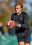 5 October 2019: University at Albany Great Dane Goalkeeper Isac Hjerten, a Freshman from Ulricehamn, Sweden, in second half action against the University of Vermont Catamounts at Virtue Field in Burlington, Vermont. The Catamounts fell to the visiting Danes 3-1 in America East, Division 1 play. Mandatory Credit: Ed Wolfstein Photo *** RAW (NEF) Image File Available ***
