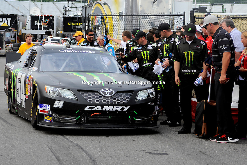 "July 13, 2013 - Loudon, New Hampshire U.S. - Nationwide Series driver Kyle Busch enters Victory Lane after winning the NASCAR Nationwide Series CNBC Prime's ""The Profit"" 200 race being held at the New Hampshire Motor Speedway in Loudon, New Hampshire.   Eric Canha/CSM"