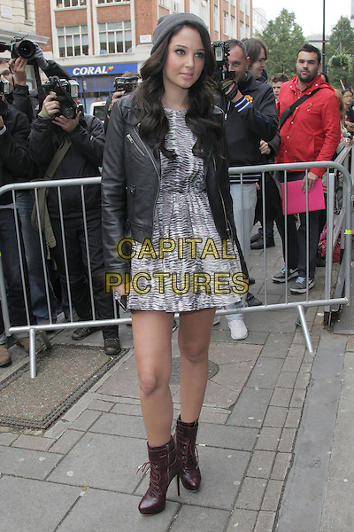Tulisa Contostavlos .X Factor at BBC Radio 1, London, England..October 3rd, 2012.full length black leather jacket  grey gray print dress brown ankle boots beanie hat  .CAP/HIL.©John Hillcoat/Capital Pictures .