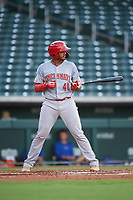 AZL Reds Jose Tello (40) at bat during an Arizona League game against the AZL Cubs 2 on July 23, 2019 at Sloan Park in Mesa, Arizona. AZL Cubs 2 defeated the AZL Reds 5-3. (Zachary Lucy/Four Seam Images)