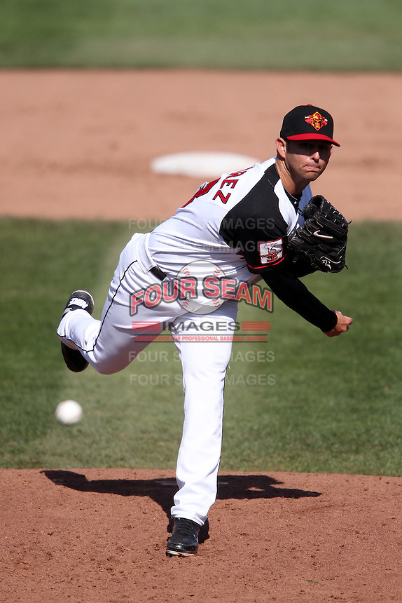 Rochester Red Wings relief pitcher Carlos Gutierrez #53 delivers a pitch during the second game of a double header against the Lehigh Valley Ironpigs at Frontier Field on April 14, 2011 in Rochester, New York.  Lehigh Valley defeated Rochester 5-3 in extra innings.  Photo By Mike Janes/Four Seam Images
