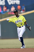 Shortstop Ronny Mauricio (2) of the Columbia Fireflies throws between innings of a game against the Charleston RiverDogs on Saturday, April 6, 2019, at Segra Park in Columbia, South Carolina. Columbia won, 3-2. (Tom Priddy/Four Seam Images)