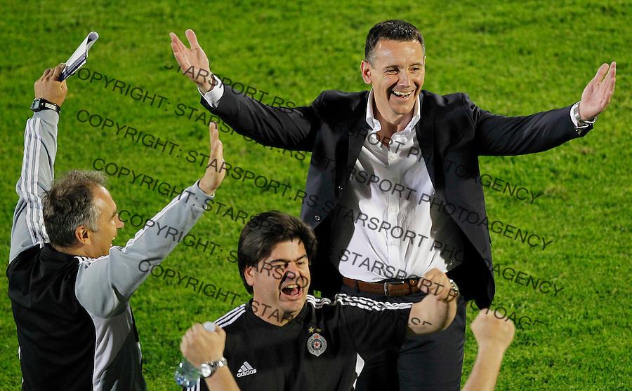 Fudbal Super liga season 2012-2013.Partizan v Crvena Zvezda .Head coach Vuk Rasovic celebrates.Beograd, 05.18.2013..foto: Srdjan Stevanovic/Starsportphoto ©