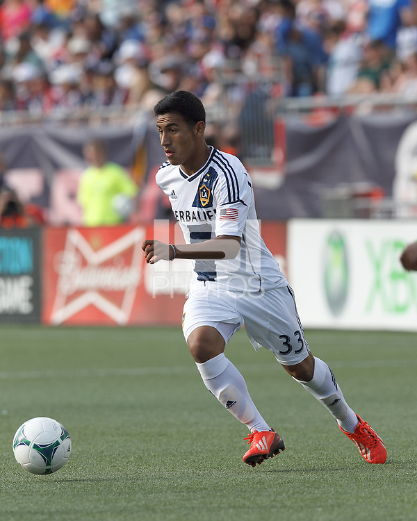 LA Galaxy substitute forward Jose Villarreal (33) controls the ball. In a Major League Soccer (MLS) match, the New England Revolution (blue) defeated LA Galaxy (white), 5-0, at Gillette Stadium on June 2, 2013.