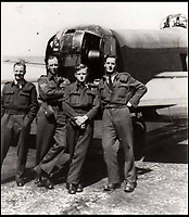 BNPS.co.uk (01202 558833)<br /> Pic: JoePinguey/BNPS.<br /> <br /> F/O Pulfrey (r) with his tragic Lancaster crewmates during the war<br /> <br /> The tragic tale of downed RAF Lancaster bomb aimer and the heartwarming friendship which developed between the farmer who found his body and his grieving family can be told after his medals emerged for sale.<br /> <br /> Flying Officer Leslie Pulfrey, of 103 Sqn RAF Bomber Command was killed when his Lancaster was shot down by a Luftwaffe fighter over the Netherlands on the way back from a raid on a German oil refinery.<br /> <br /> His body was found on 16th June 1944 by a Dutch farmer Gerrit Van Eerden wrapped in an unopened parachute and with bullet wounds to his neck.<br /> <br /> Only one of the crew survived the crash and Pulfrey was laid to rest with five of his comrades in the local cemetery.<br /> <br /> Fly Off Pulfrey's nephew Joe Pinguey, 67, a retired motor mechanic from Penistone, south Yorkshire, is putting his medals on the market with Sheffield Auction Gallery for &pound;1,200.