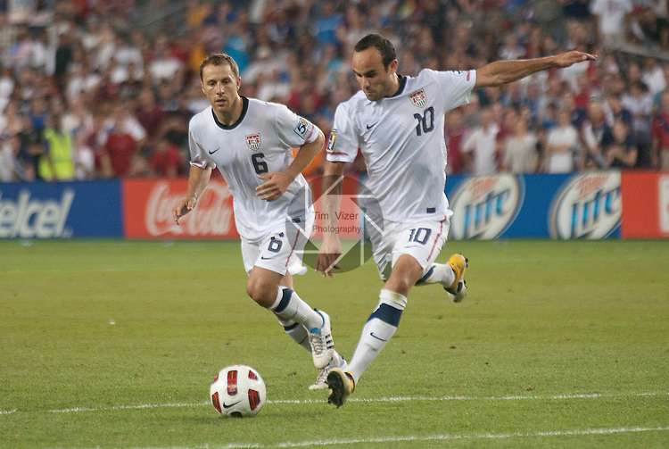 14 June 2011                          USA defender Steve Cherundolo (6) and USA attacker Landon Donovan (10) during a free kick on the Guadeloupe goal in the second half. The USA Men's National Soccer Team defeated the Guadeloupe Men's National Soccer Team 1-0 in the first qualifying round of the CONCACAF Gold Cup game at Livestrong Sporting Park in Kansas City, KS on June 14, 2011.