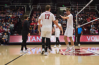 STANFORD, CA - January 5, 2019: Eli Wopat, Kyler Presho, Kyle Dagostino at Maples Pavilion. The Stanford Cardinal defeated UC Santa Cruz 25-11, 25-17, 25-15.