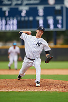 GCL Yankees East relief pitcher Janson Junk (23) delivers a pitch during the first game of a doubleheader against the GCL Yankees West on July 19, 2017 at the Yankees Minor League Complex in Tampa, Florida.  GCL Yankees West defeated the GCL Yankees East 11-2.  (Mike Janes/Four Seam Images)