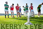 Launching  the 2016 Garveys SuperValu Senior County Football Championship at Austin Stack Park on Friday with the Bishop Moynihan Cup were l-r  Dave Roche, Milltown, Castlemaine, Cathal Banbury, Dingle, Darragh Roche, East Kerry, Wayne Guthrie, Austin Stacks, Paul McMahon, St Brendans, Joe O'Keeffe, Rathmore, Danny O'Sullivan, Kerins O'Rahillys, Padraig Reidy, St Kierans, Paul O'Donoghue, South Kerry, Donnchadh Walsh, Mid Kerry, Johnny Buckley, Dr Crokes and Mark O'Shea, West Kerry.
