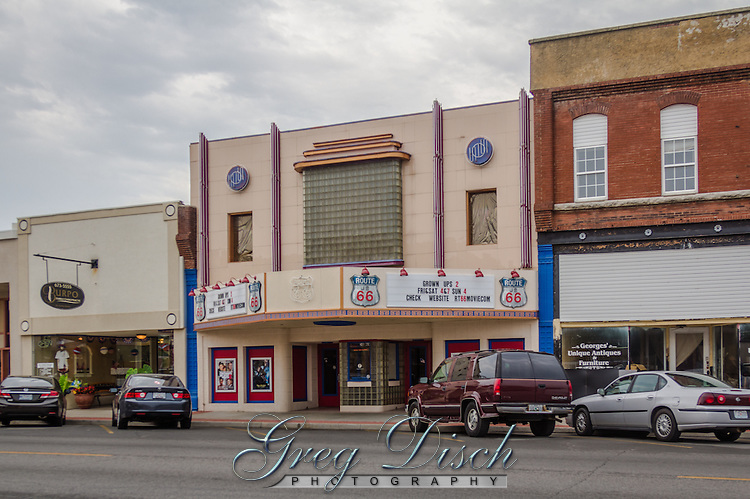 Route 66 Movei Theater in Webb City Missouri. The theater was built in the 1940's and know as the Larsen Theater. The theater was later changed to the Route 66 Music Theater and recently returned to showing moves as the Route 66 Movie Theater.