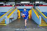 Gary Brennan of Clare leads out his team for their National League game against Roscommon at Cusack Park. Photograph by John Kelly.