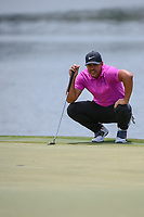 Brooks Koepka (USA) lines up his par putt on 18 during round 4 of The Players Championship, TPC Sawgrass, at Ponte Vedra, Florida, USA. 5/13/2018.<br /> Picture: Golffile | Ken Murray<br /> <br /> <br /> All photo usage must carry mandatory copyright credit (&copy; Golffile | Ken Murray)