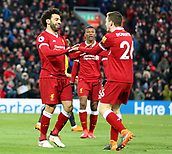 17th March 2018, Anfield, Liverpool, England; EPL Premier League football, Liverpool versus Watford;  Mohammed Salah of Liverpool celebrates his  his second goal of the match in the 43rd minute which gives his side a 2-0 lead with its creator Andrew Robertson of Liverpool